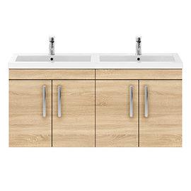 Brooklyn 1205mm Natural Oak Wall Hung 4 Door Double Basin Vanity Unit