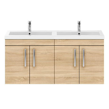 Brooklyn 1205mm Natural Oak Wall Hung 4 Door Double Basin Vanity Unit