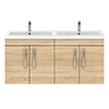 Brooklyn 1205mm Natural Oak Wall Hung 4 Door Double Basin Vanity Unit profile small image view 1