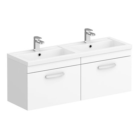 Brooklyn 1205mm Gloss White Wall Hung 2 Drawer Double Basin Vanity Unit