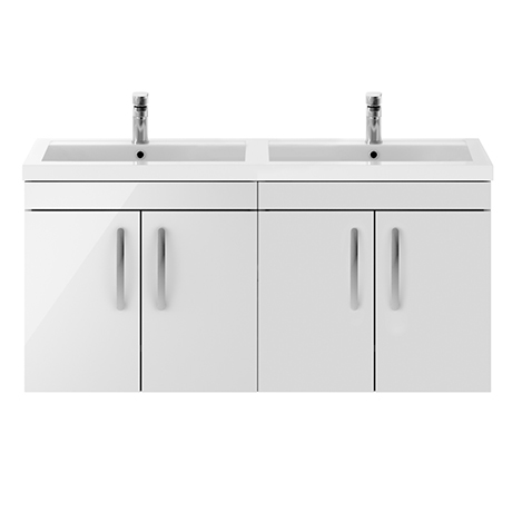 Brooklyn 1205mm Gloss White Wall Hung 4 Door Double Basin Vanity Unit