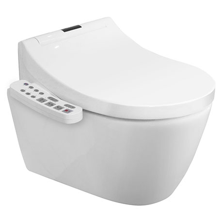 Bianco Wall Hung Smart Toilet with Bidet Wash Function, Heated Seat + Dryer