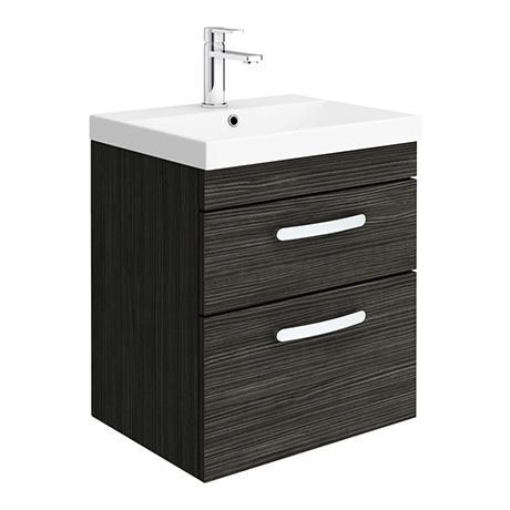 Brooklyn 500 Black Wall Hung 2 Drawer Vanity Unit with Thin-Edge Basin