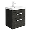 Brooklyn 500 Black Wall Hung 2 Drawer Vanity Unit with Thin-Edge Basin profile small image view 1