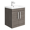 Brooklyn 500mm Grey Avola 2 Door Wall Hung Vanity Unit profile small image view 1