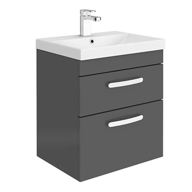 Brooklyn 500 Gloss Grey Wall Hung 2 Drawer Vanity Unit with Thin-Edge Basin
