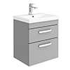 Brooklyn 500 Grey Mist Wall Hung 2 Drawer Vanity Unit with Thin-Edge Basin profile small image view 1