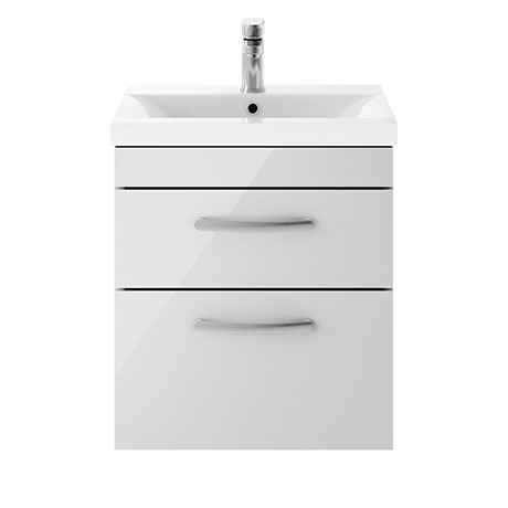 Brooklyn 500mm Grey Mist 2 Drawer Wall Hung Vanity Unit