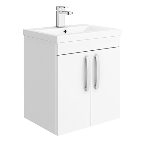 Brooklyn 500mm Gloss White 2 Door Wall Hung Vanity Unit