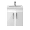 Brooklyn 500mm Gloss White 2 Door Wall Hung Vanity Unit profile small image view 1