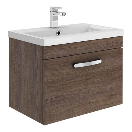Brooklyn 500mm Mid Oak Wall Hung Vanity Unit - Single Drawer