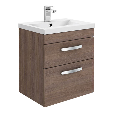 Brooklyn 500mm Mid Oak 2 Drawer Wall Hung Vanity Unit