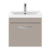 Brooklyn 500mm Stone Grey Wall Hung Vanity Unit - Single Drawer profile small image view 1