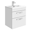 Brooklyn 500mm White Gloss 2 Drawer Wall Hung Vanity Unit profile small image view 1