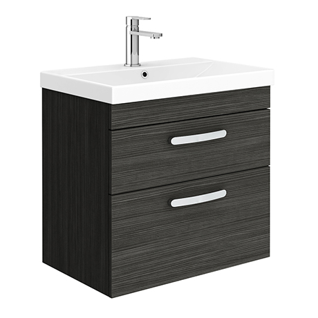 Brooklyn 600 Black Wall Hung 2 Drawer Vanity Unit with Thin-Edge Basin