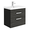 Brooklyn 600 Black Wall Hung 2 Drawer Vanity Unit with Thin-Edge Basin profile small image view 1