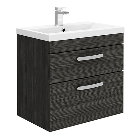 Brooklyn 600mm Wall Hung Double Drawer Vanity Unit - Hacienda Black