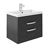 Brooklyn 600mm Wall Hung Double Drawer Vanity Unit - Hacienda Black profile small image view 1