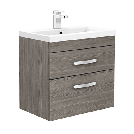 Brooklyn 600mm Grey Avola 2 Drawer Wall Hung Vanity Unit