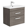 Brooklyn 600mm Grey Avola 2 Drawer Wall Hung Vanity Unit profile small image view 1