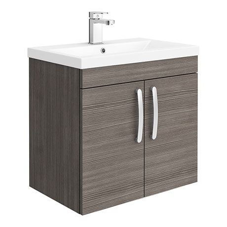 Brooklyn 600mm Grey Avola 2 Door Wall Hung Vanity Unit