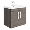 Brooklyn 600mm Grey Avola 2 Door Wall Hung Vanity Unit profile small image view 1