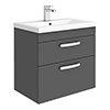 Brooklyn 600mm Gloss Grey 2 Drawer Wall Hung Vanity Unit profile small image view 1