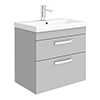 Brooklyn 600 Grey Mist Wall Hung 2 Drawer Vanity Unit with Thin-Edge Basin profile small image view 1