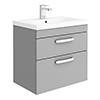 Brooklyn 600mm Grey Mist 2 Drawer Wall Hung Vanity Unit profile small image view 1