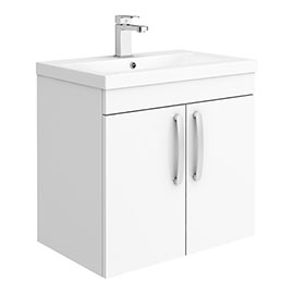 Brooklyn 600mm Gloss White 2 Door Wall Hung Vanity Unit