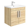 Brooklyn 600mm Natural Oak 2 Door Wall Hung Vanity Unit profile small image view 1