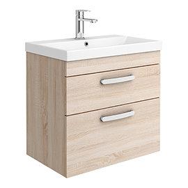 Brooklyn 600 Natural Oak Wall Hung 2 Drawer Vanity Unit with Thin-Edge Basin