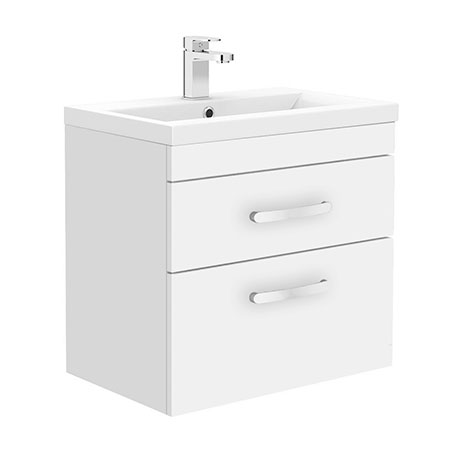 Brooklyn 600mm White Gloss 2 Drawer Wall Hung Vanity Unit