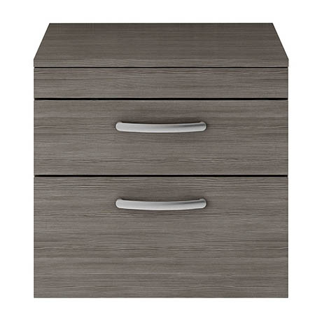 Brooklyn 605mm Black Worktop & Double Drawer Wall Hung Cabinet