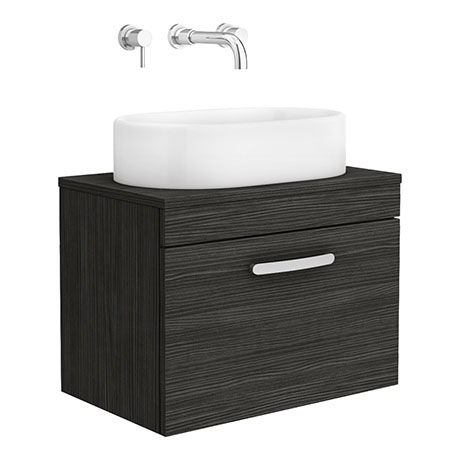 Brooklyn 605mm Black Single Drawer Wall Hung Cabinet Inc. Counter Top Basin