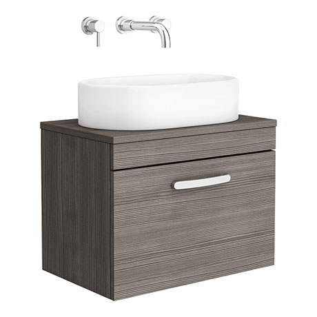 Brooklyn 605mm Grey Avola Single Drawer Wall Hung Cabinet Inc. Counter Top Basin 0TH