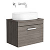 Brooklyn Wall Hung Countertop Basin Unit - Grey Avola - 605mm inc. Basin profile small image view 1