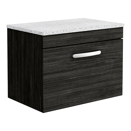 Brooklyn Wall Hung Countertop Vanity Unit - Black - 600mm with White Worktop & Chrome Handle
