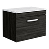 Brooklyn Wall Hung Countertop Vanity Unit - Black - 600mm with White Worktop & Chrome Handle profile small image view 1