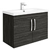 Brooklyn 800mm Black 2 Door Wall Hung Vanity Unit profile small image view 1