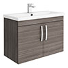 Brooklyn 800mm Grey Avola 2 Door Wall Hung Vanity Unit profile small image view 1