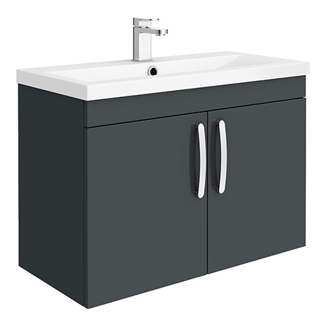 Brooklyn 800mm Gloss Grey 2 Door Wall Hung Vanity Unit