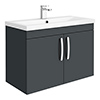 Brooklyn 800mm Gloss Grey 2 Door Wall Hung Vanity Unit profile small image view 1