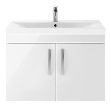 Brooklyn 800mm Gloss White 2 Door Wall Hung Vanity Unit