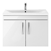 Brooklyn 800mm Gloss White 2 Door Wall Hung Vanity Unit profile small image view 1