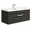 Brooklyn Black 800mm Wall Hung Vanity Unit - Single Drawer profile small image view 1