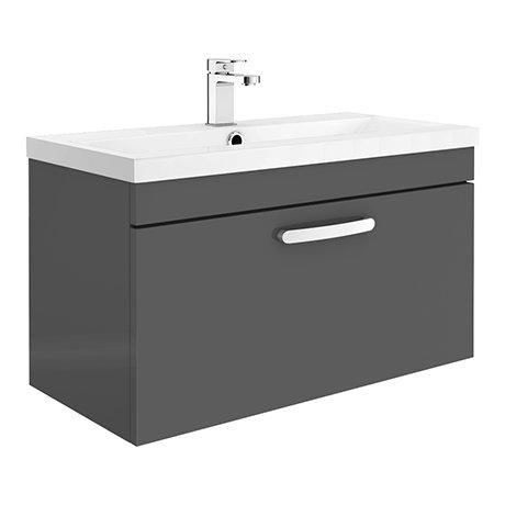 Brooklyn 800mm Gloss Grey 1 Drawer Wall Hung Vanity Unit