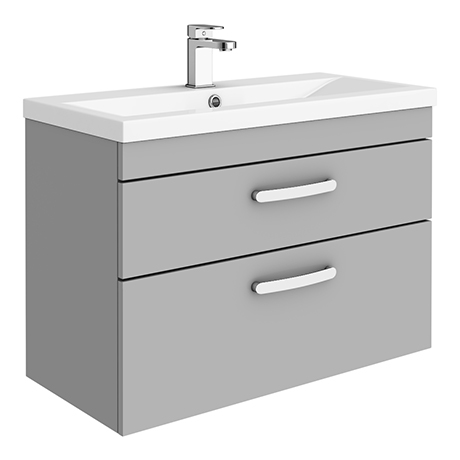 Brooklyn 800mm Grey Mist 2 Drawer Wall Hung Vanity Unit