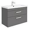 Brooklyn 800mm Gloss Grey 2 Drawer Wall Hung Vanity Unit profile small image view 1