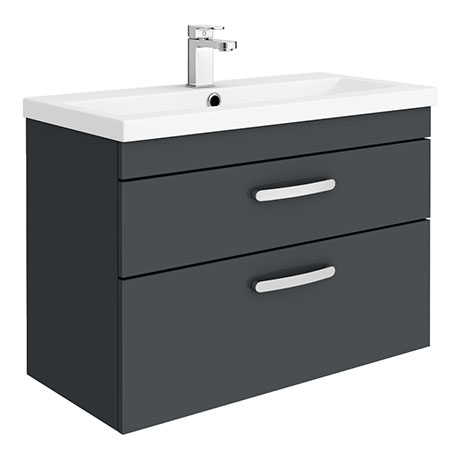 Brooklyn 800mm Gloss Grey 2 Drawer Wall Hung Vanity Unit